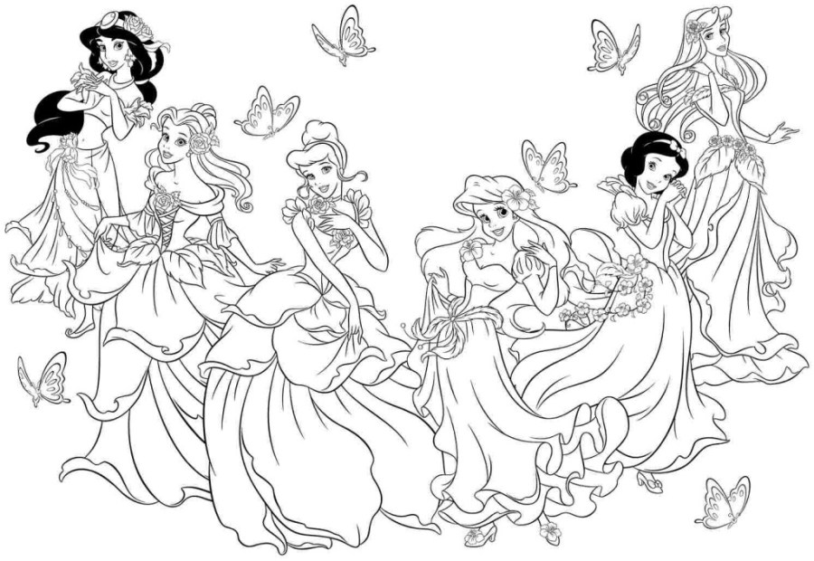 beautiful all disney princess coloring pages 306 all disney