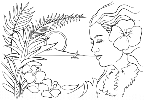 beautiful hawaii coloring page free printable coloring pages