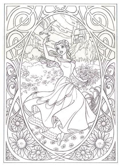 belle art nouveau free coloring page disney malvorlagen