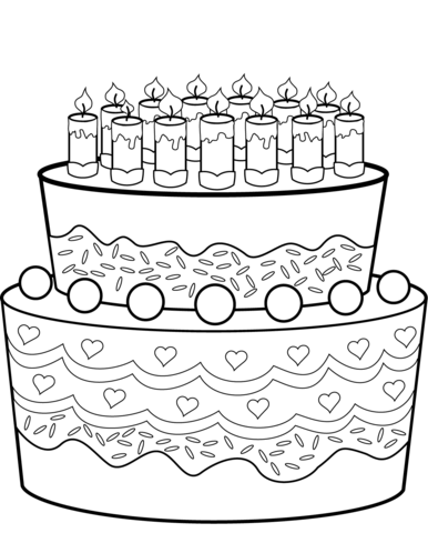 birthday cake coloring page free printable coloring pages