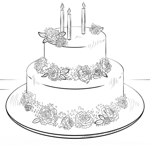 birthday cake with roses coloring page free printable