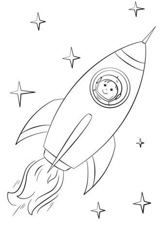 boy astronaut flying in a space rocket coloring page free