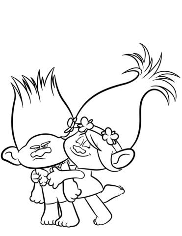 branch poppy from trolls coloring page free printable