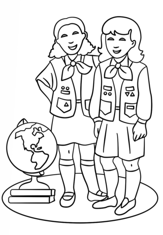 brownie girls scout coloring page free printable coloring