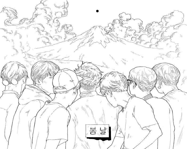 bts colouring book page peacheschild in 2020 coloring