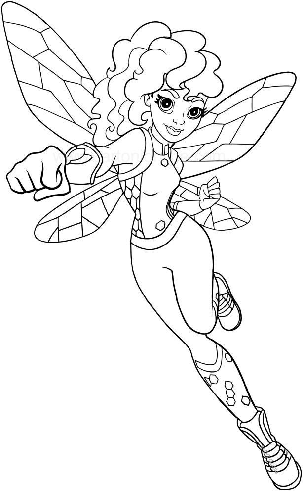 bumblebee dc superhero girls coloring page to print