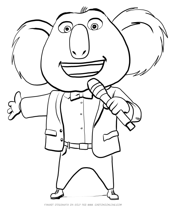 buster moon the koala of sing coloring pages