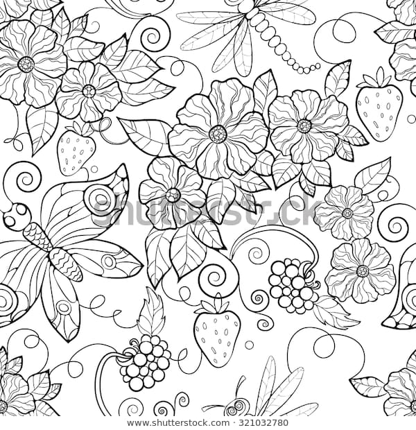 butterfly pattern flowers coloring pages adults stock vector