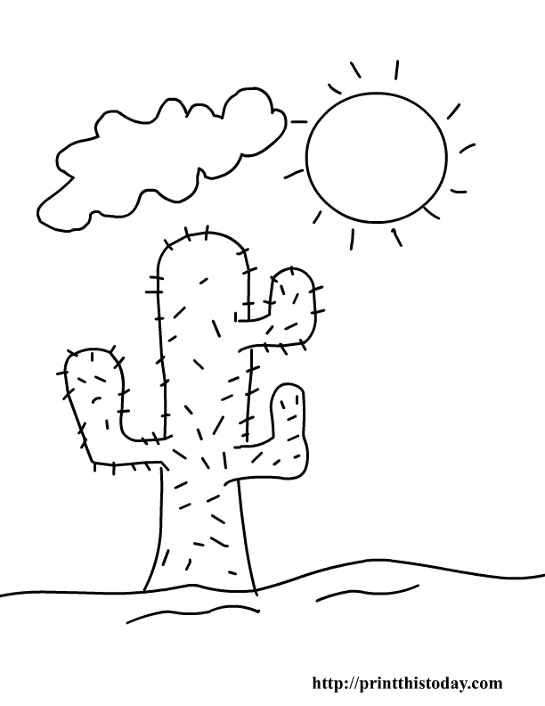 cactus and sun desert coloring pages for kids to print
