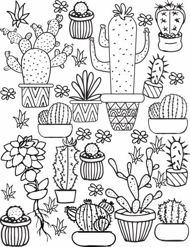 cactus coloring page crafted here