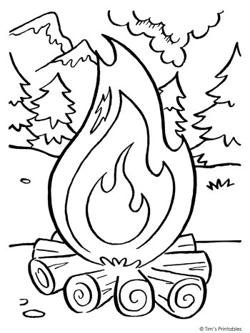 camping fire coloring page 350 tims printables
