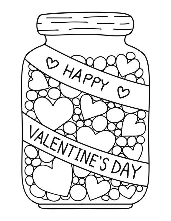 candy jar coloring page valentines day malvorlagen