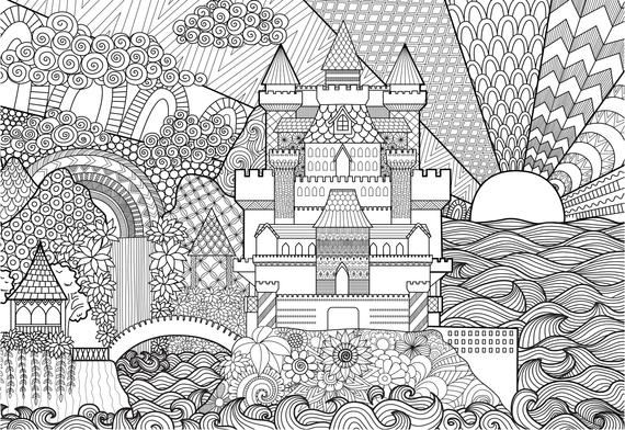 castle coloring pages for adults 1 printable coloring page instant download pdf
