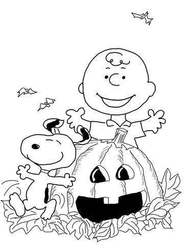 charlie brown halloween coloring page free printable