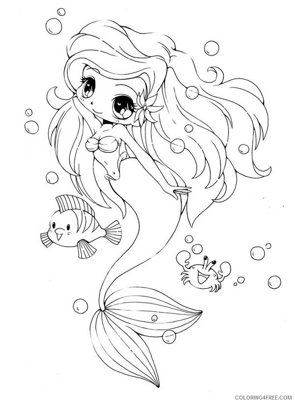 chibi coloring pages little mermaid coloring4free