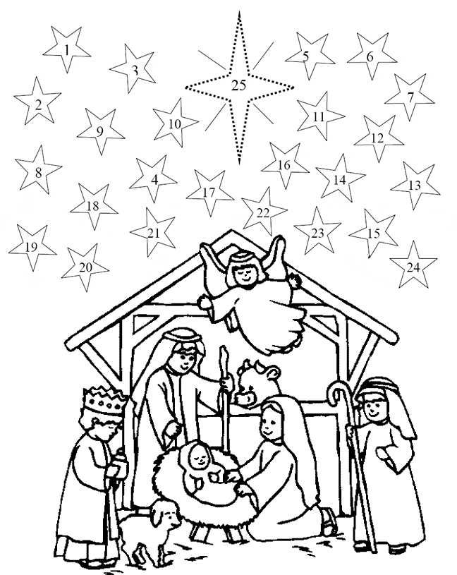 christmas advent coloring pages to print free