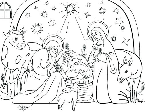 christmas nativity coloring pages free at getdrawings
