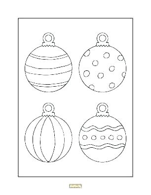 christmas ornaments color pages sheet free coloring