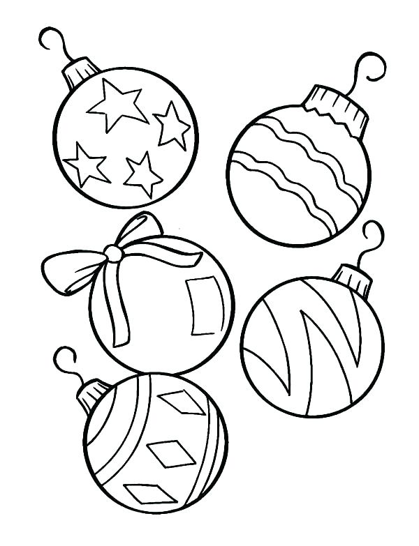 christmas ornaments color pages tree page printable holiday