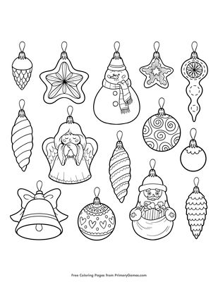 christmas ornaments coloring page free printable pdf from