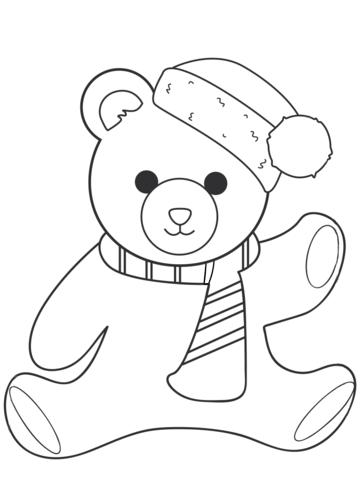 christmas teddy bear coloring page free printable coloring