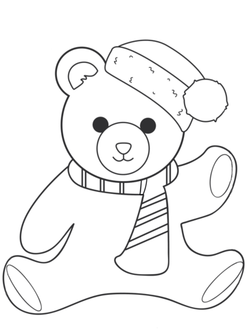 christmas teddy bear coloring page free printable coloring