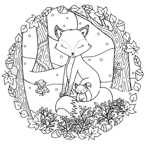 christmas winter woodland cosy foxes adult coloring page
