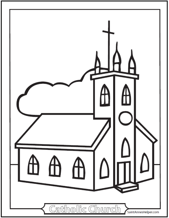 church coloring sheet easy kindergarten coloring page