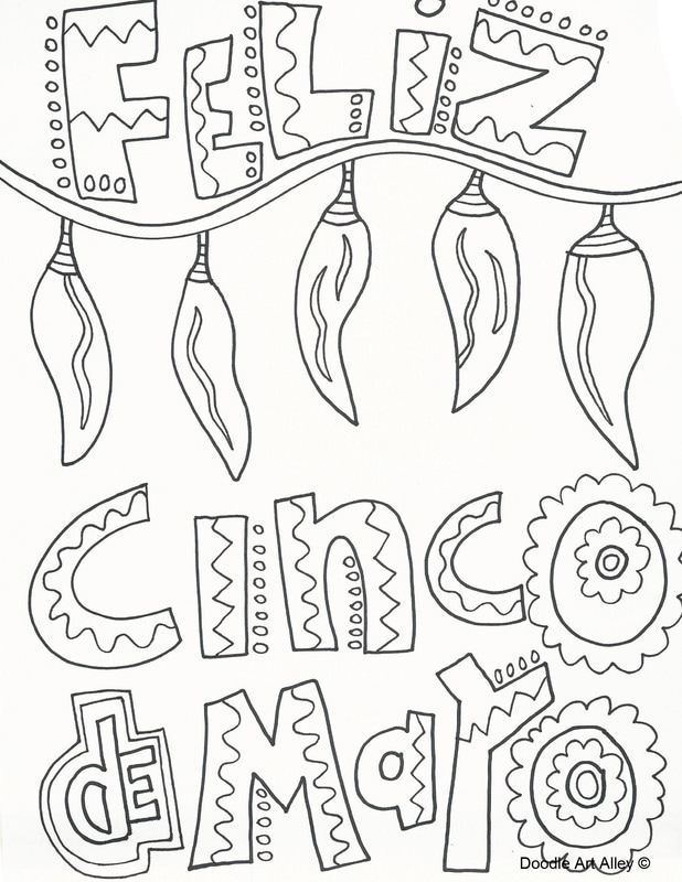 cinco de mayo coloring pages doodle art alley