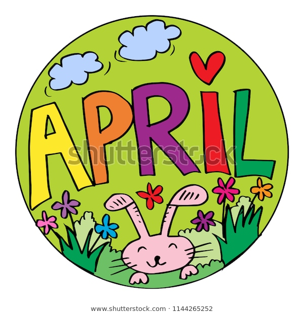 color example april coloring pages kids stock vector