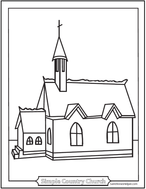 coloring page church simple country chapel