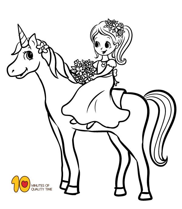 coloring page girl riding a unicorn bunny coloring pages