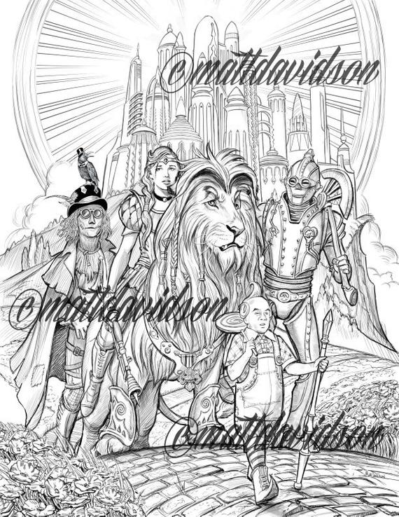 coloring pages adult coloring steampunk coloring page wizard of oz steampunk fantasy coloring printable downloadable grayscale