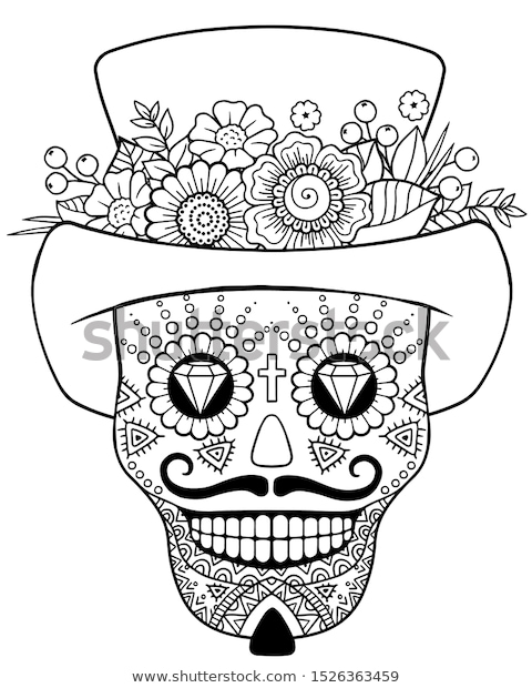 coloring pages adult day dead sugar stock vector royalty