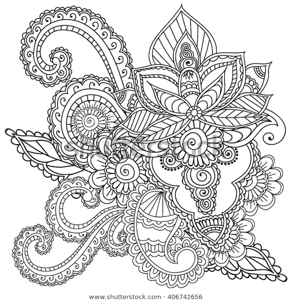 coloring pages adults henna mehndi doodles stock