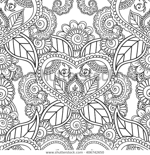 coloring pages adults seamless patternhenna mehndi stock