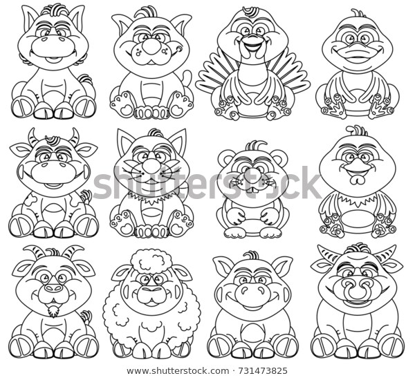 coloring pages children contour farm animals stock