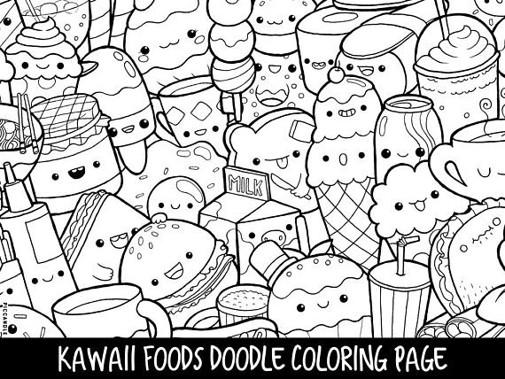 coloring pages cute food printable fun for kids