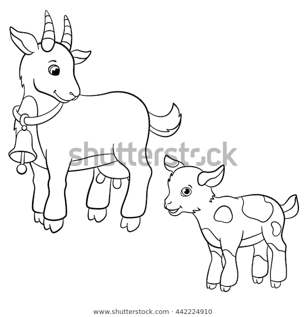 coloring pages farm animals cute mother stock vektorgrafik