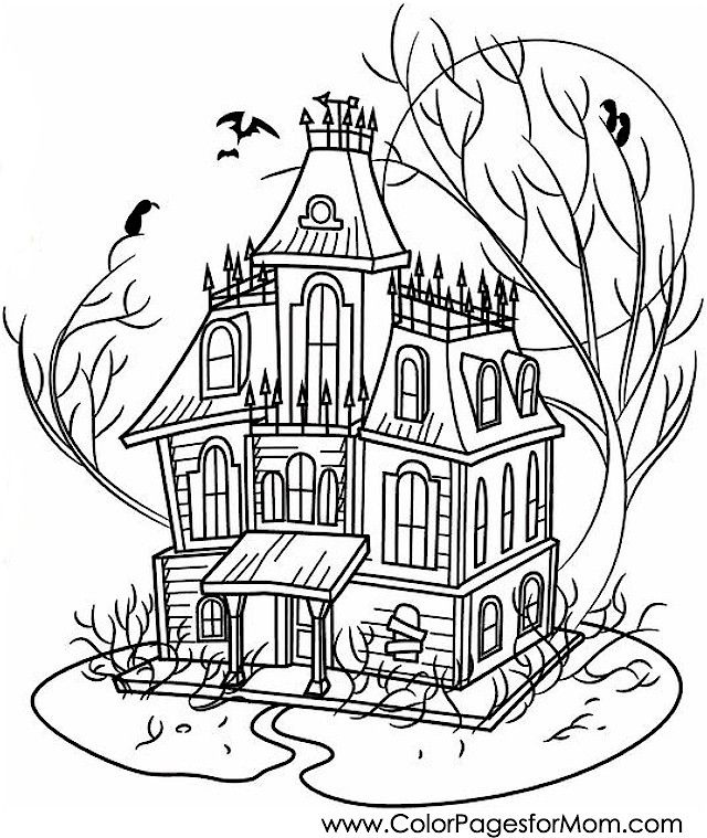 coloring pages for adults halloween haunted house coloring