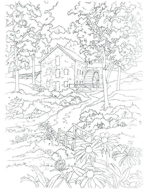 coloring pages for adults landscape pusat hobi