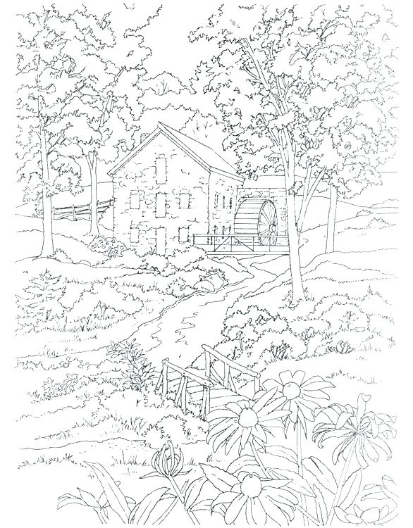 coloring pages for adults landscape pusat hobi
