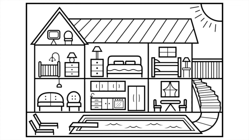 coloring pages for kids big house with swimming pool before