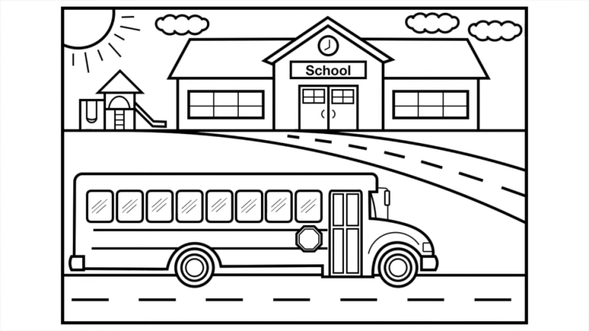 coloring pages for kids school bus before color scheme