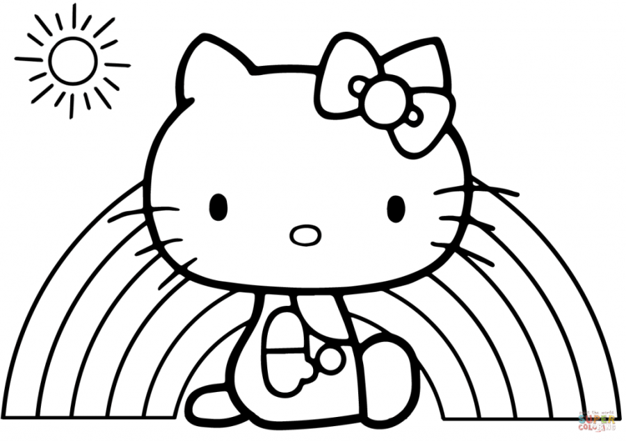 coloring pages ideas hello kitty rainbow coloring page