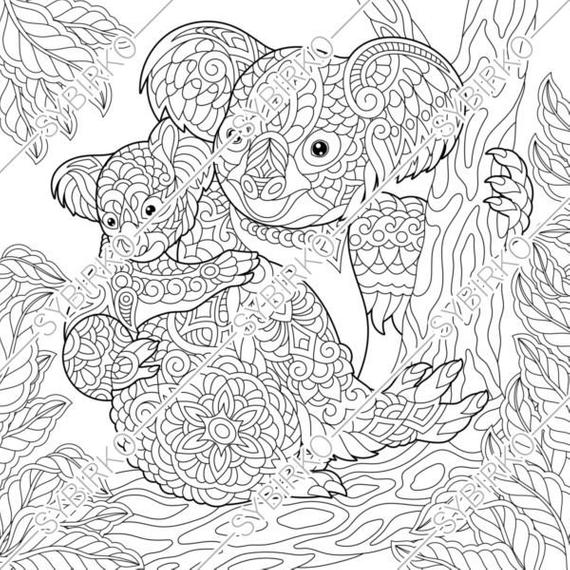 coloring pages koala bears family animal coloring book for adult instant download pdf jpg files printable coloring pages for adults