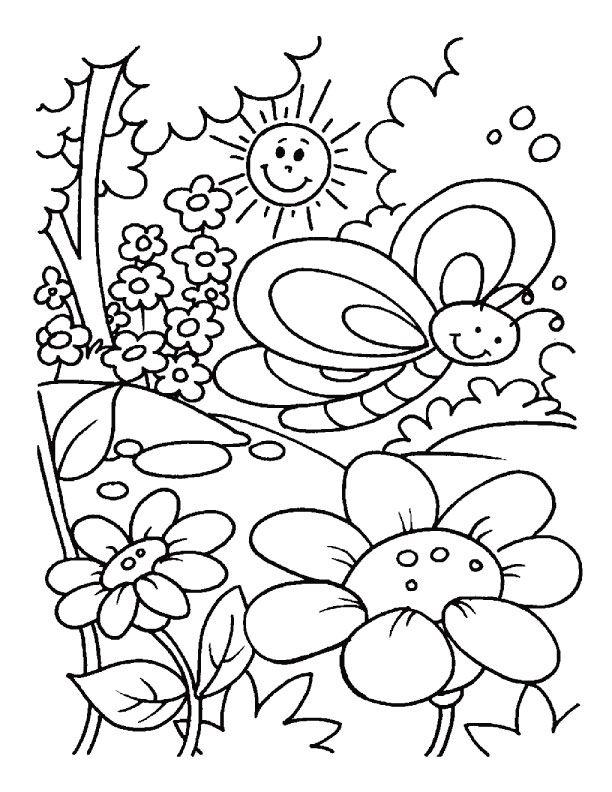 coloring pages of spring spring coloring pages flower