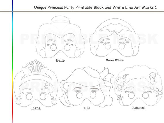 coloring pages princess party printable black and white line art masks bell snow white tiana ariel rapunzel kids dress up mask props