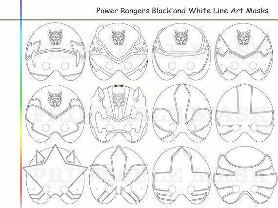 coloring pages rangers party printable black and white line art mask kid costume color mask diy paper samurai heroes props mega force