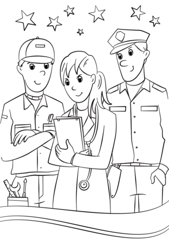 community helpers coloring page free printable coloring pages